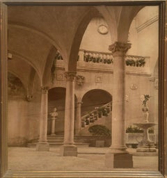 Hand Painted Photograph of Verrocchio's Fountain 1915 World's Fair San Francisco