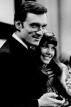 High Hefner Smiling with Girlfriend Barbi Benton Vintage Original Photograph