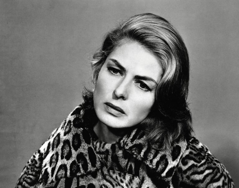 Unknown Black and White Photograph - Ingrid Bergman in Leopard Globe Photos Fine Art Print