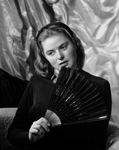Ingrid Bergman Posed with Fan Fine Art Print