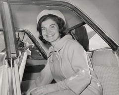 Jackie Kennedy Smiling in Car Fine Art Print
