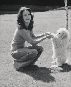 Jaclyn Smith Playing with Dog Fine Art Print