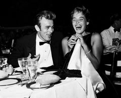 James Dean and Ursula Andress Laughing at Dinner Globe Photos Fine Art Print