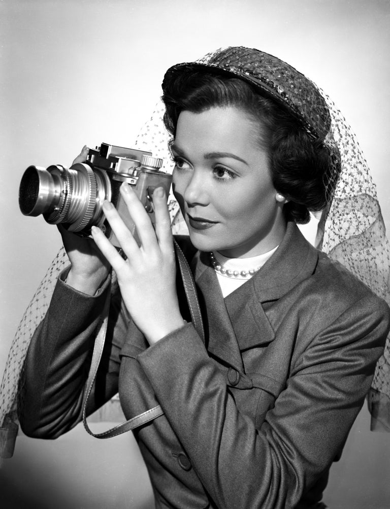 Unknown Black and White Photograph - Jane Wyman with Camera Fine Art Print