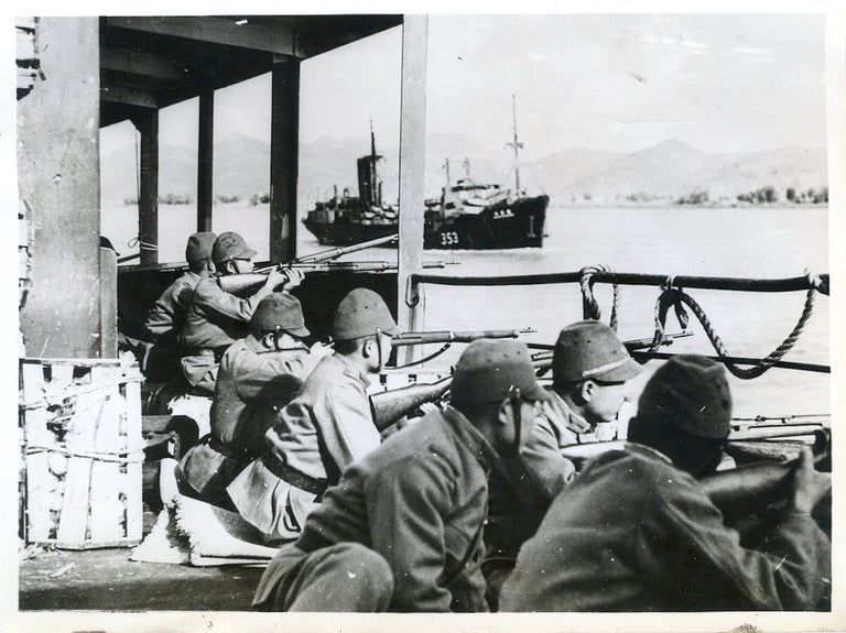 Unknown Black and White Photograph - Japanese Troops - Vintage Photo 1938