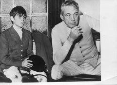 John Huston and Tony Huston - Vintage b/w Photograph - 1960s