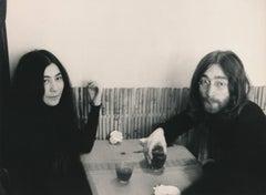 John Lennon and Yoko Ono Sitting Together Fine Art Print