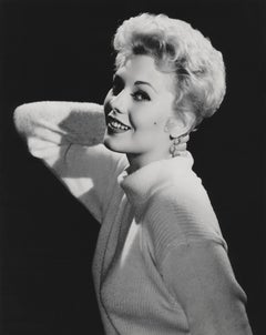 Kim Novak Smiling and Leaning Globe Photos Fine Art Print