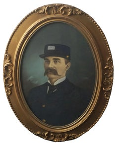 Late 19th Century Detroit United States Mail Carrier Hand Painted Photograph