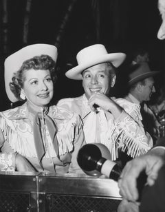 Lucille Ball and Desi Arnaz Smiling in Cowboy Outfits Fine Art Print