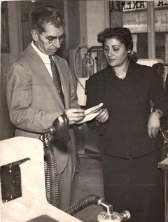 Lucky Luciano with his Secretary - Vintage B/W photo - 1962