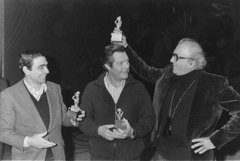 Unknown Black and White Photograph - Marcello Mastroianni, Federico Fellini - Vintage Photography - 1980s