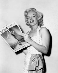 Marilyn Monroe Smling with Magazine Globe Photos Fine Art Print