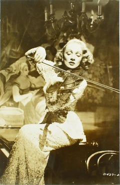 Marlene Dietrich Playing Violin - Silver Gelatin Black and White Photograph