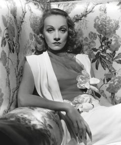 Marlene Dietrich Posed on Floral Couch Globe Photos Fine Art Print