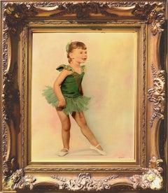 Mid Century Portrait of a Ballerina - Hand Painted Photograph
