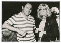 Monica Vitti and Carlo Verdone - Vintage Black and White Photo - 1980s