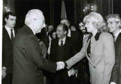 Monica Vitti with italian President Francesco Cossiga- Vintage b/w Photo - 1980s