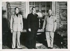 Mussolini, Ciano and Stoyadinovich in Palazzo Venezia - Vintage Photo 1937