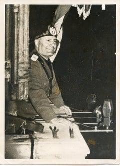 Mussolini at the Balcony in Piazza Venezia (Rome) - Vintage Photo - 1937