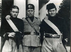 Mussolini With Two Young Men - Rome - Vintage Photo - 1935