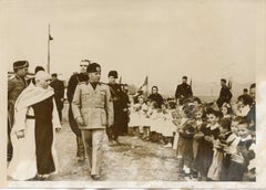 Mussolini with Workers' Children - Vintage Photo - 1937