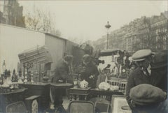Outdoor Antique Show in Paris  - Silver Gelatin Black and White Photograph