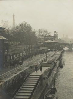 Paris, Decorative Art Exhibition 1925 with the Seine River  - B & W Photograph