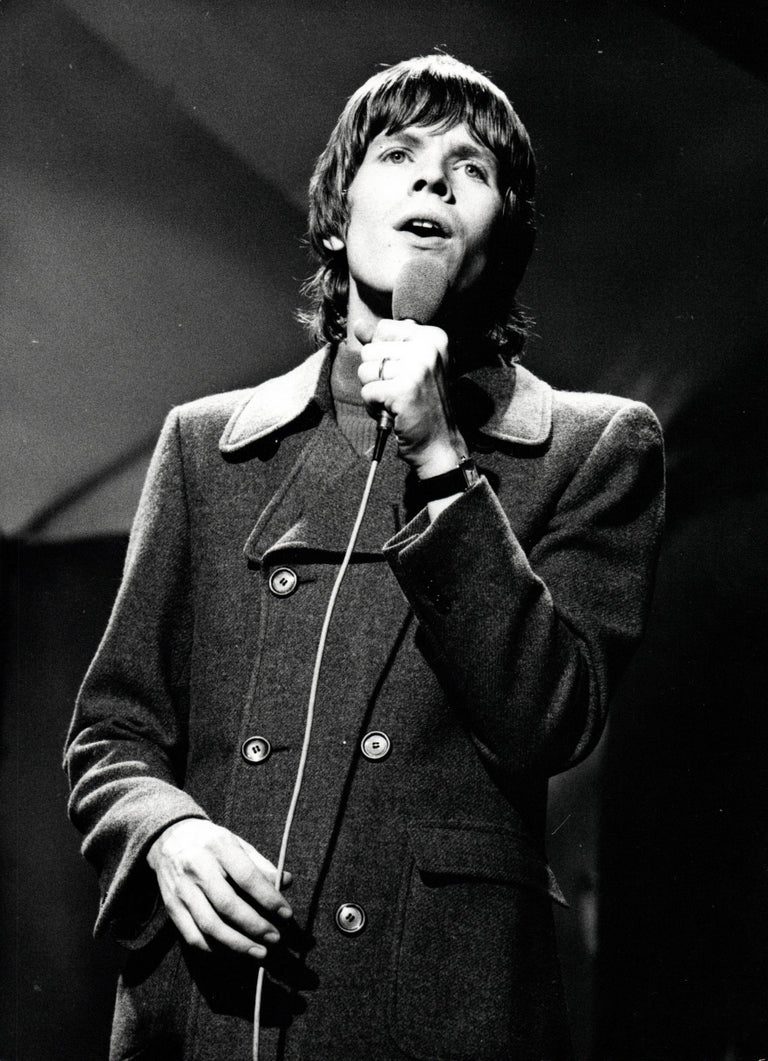 Unknown Portrait Photograph - Peter Noone of Herman's Hermits with Microphone Vintage Original Photograph