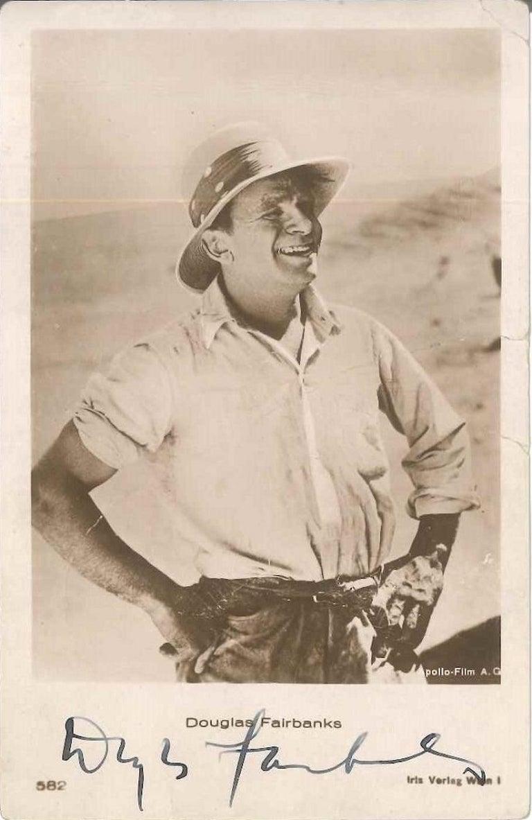 Unknown Portrait Photograph - Photo-postcard with Portrait and Autograph by Douglas Fairbanks - 1930 ca.