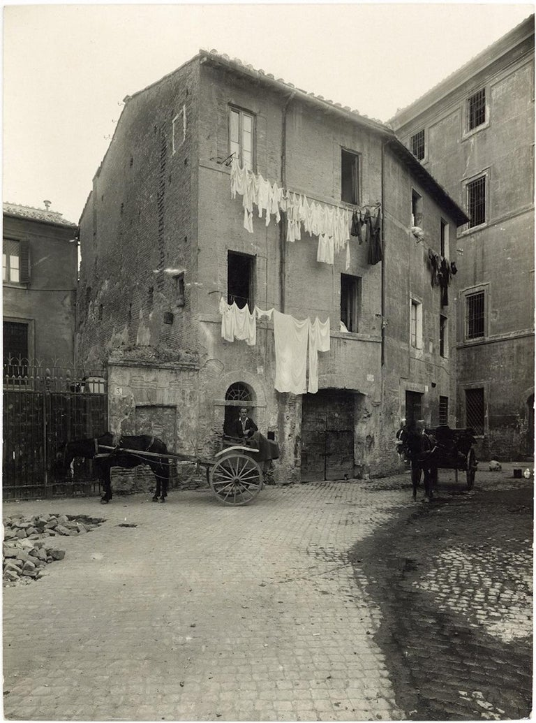 Piazza Montanara - Disappeared Rome - Two Rare Vintage Photos Early 20th Century - Gray Black and White Photograph by Unknown