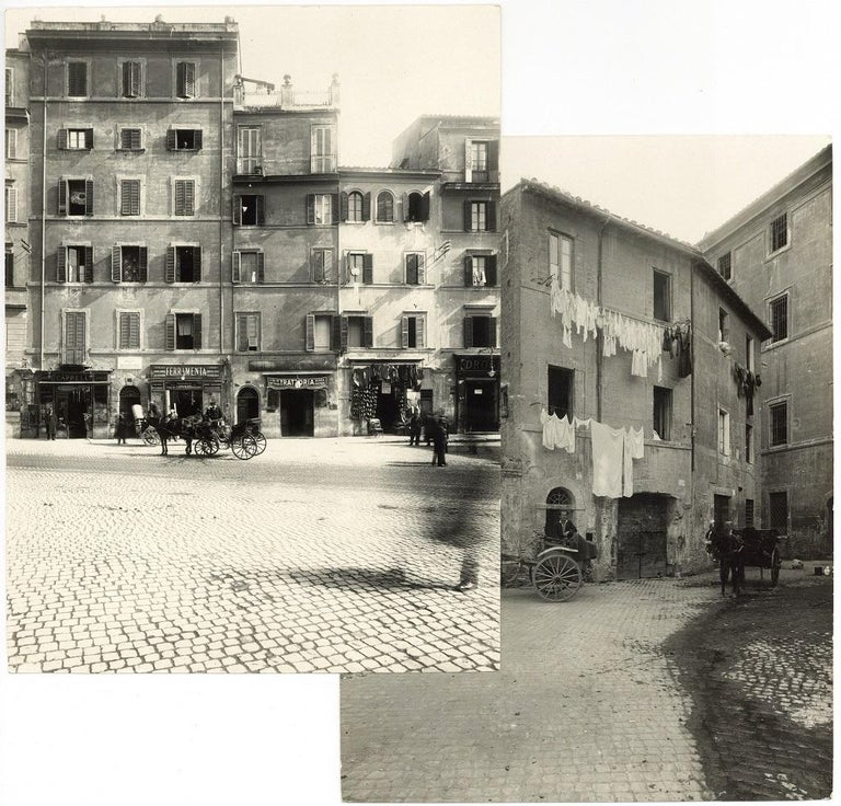 Unknown Black and White Photograph - Piazza Montanara - Disappeared Rome - Two Rare Vintage Photos Early 20th Century