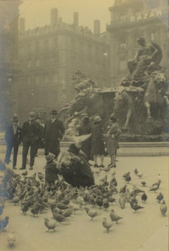 Pigeons feeding in Lyon 1927 - Silver Gelatin Black and White Photograph
