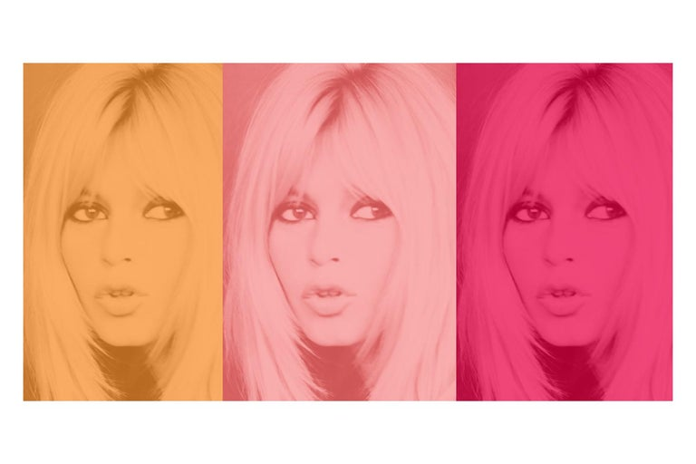 Unknown Color Photograph - Pink Bardot Triptych by BATIK signed limited edition Oversize print