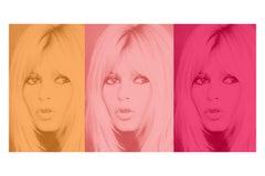 Pink Bardot Triptych by BATIK signed limited edition Oversize print
