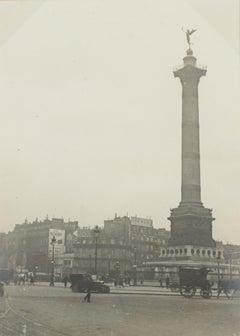 Place de la Bastille Paris, 1928 - Silver Gelatin Black and White Photograph