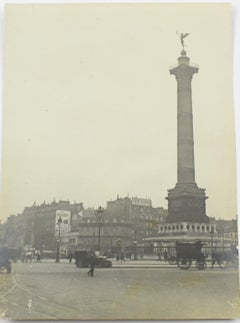 Place de la Bastille Paris - Silver Gelatin Black and White Photograph