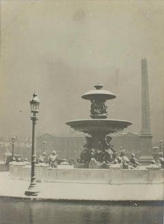 Place de la Concorde in Paris 1926 - Silver Gelatin Black and White Photograph