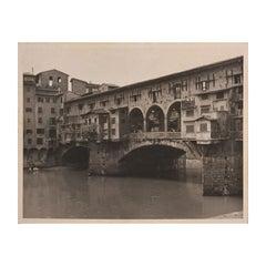Ponte Vecchio Bridge in Florence, Italy Black and White Photograph