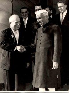 Portrait Jawaharlal Nehru with Nikita Krusciov B/W photographic - 1960s