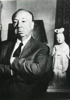Portrait of Alfred Hitchcock - Vintage b/w Photograph - 1960s