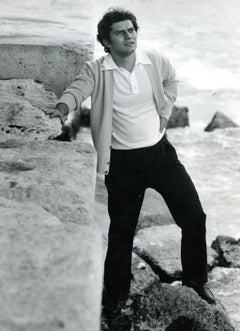 Portrait of Italian Singer Luigi Tenco by Pietro Pascuttini - B/w Photo - 1960s