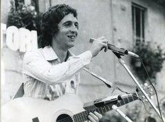 Portrait of Italian Singer Rino Gaetano -  Vintage B/w Photo - 1960s
