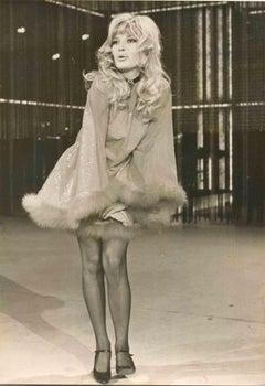 Portrait of Monica Vitti - Vintage Black and White Photo - 1970s