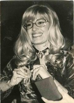 Portrait of Monica Vitti - Vintage Black and White Photo - 1980s