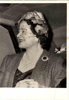 Portrait of Queen Mother Elizabeth - Vintage B/W photo - 1960s