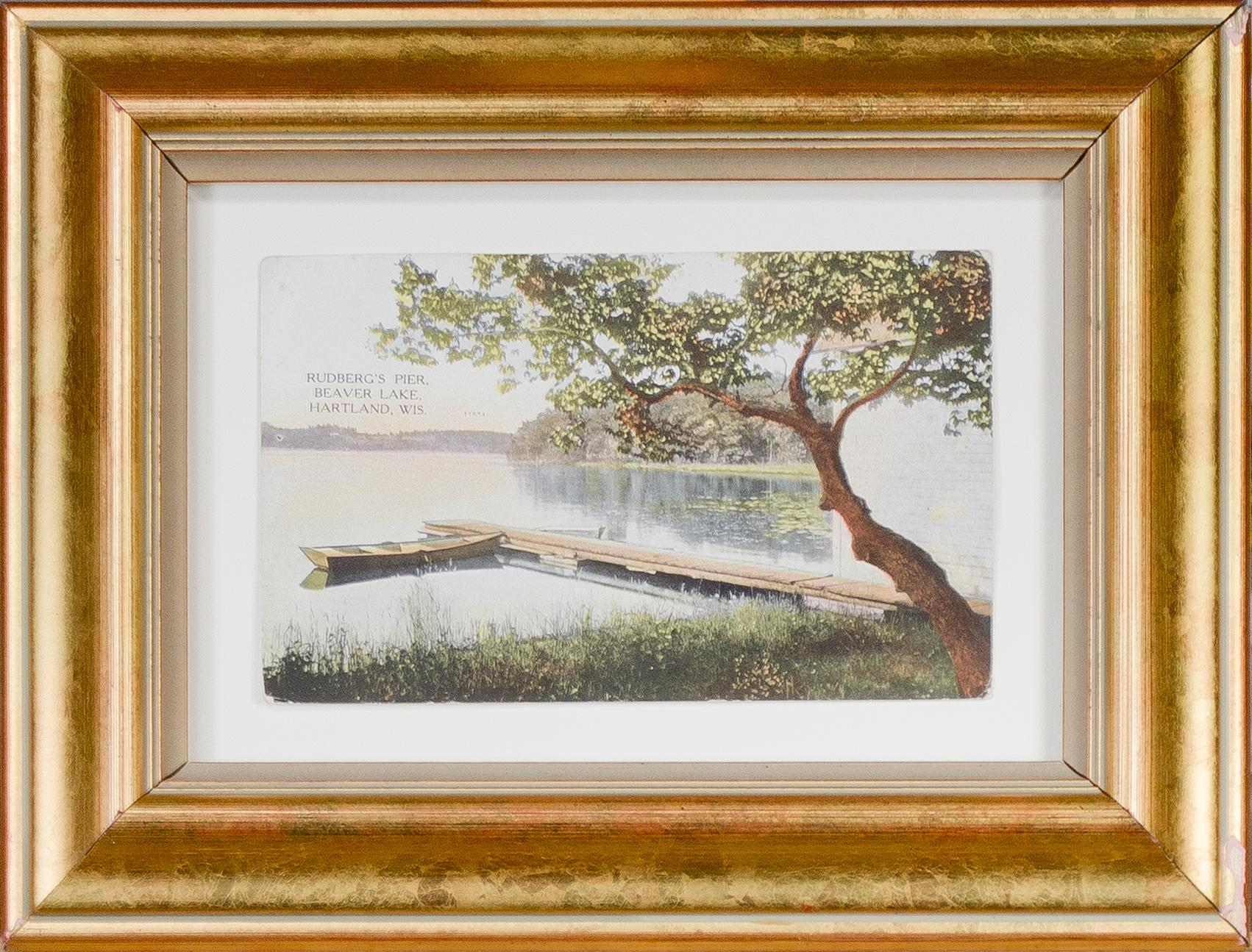 Postcard with view of Rudberg's Pier, Beaver Lake, Hartland, Wisconsin