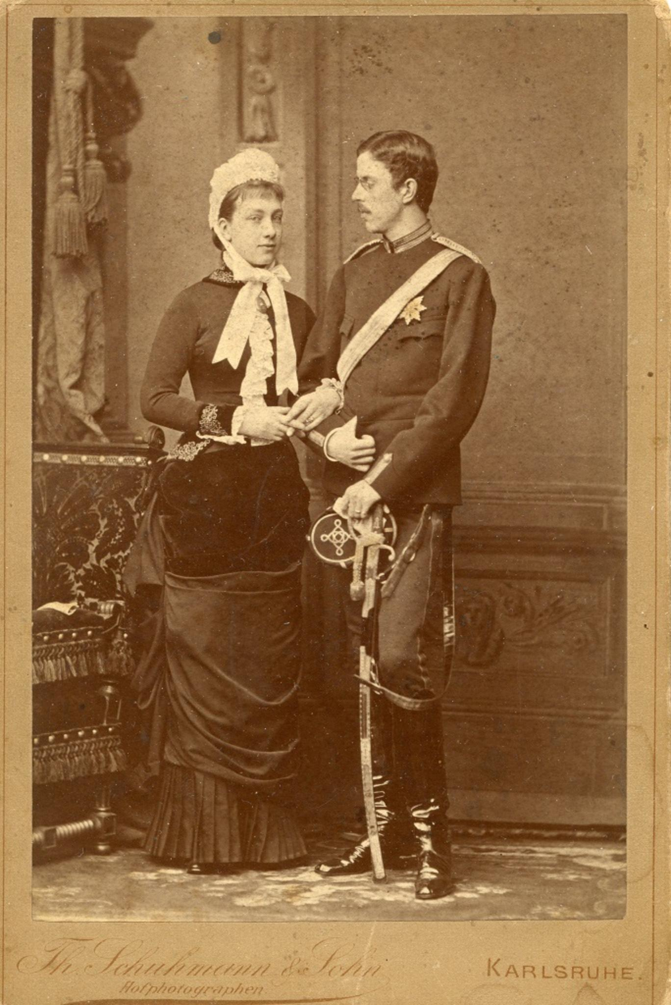 Princess Victoria and Prince Gustaf of Sweden - Ancient Photo - 1881