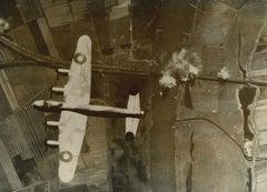 RAF Lancaster Bomber 617 Squadron World War II Black & White photograph bombing