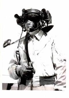 "Richard ""Dick"" Wenzell With Special Helmet - Original Albumen Photograph"